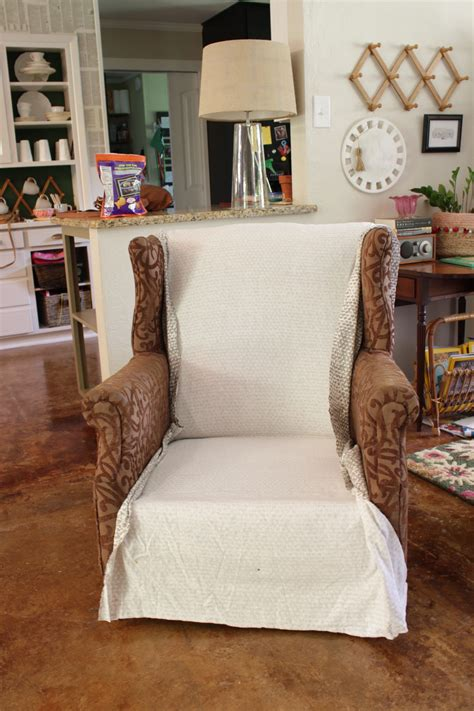 DIY No Sew Wingback Chair Slipcover