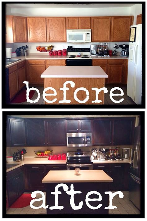 DIY Painting Stained Kitchen Cabinets
