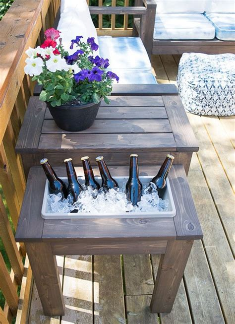 DIY Patio Table With Ice Buckets