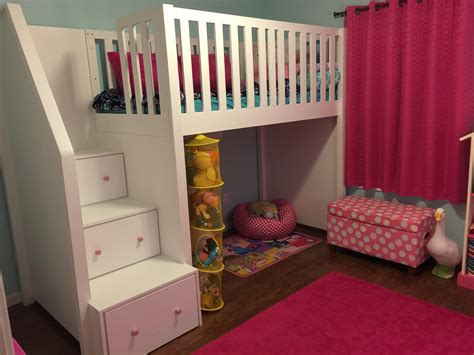 DIY Staircase Bunk Beds For Girls