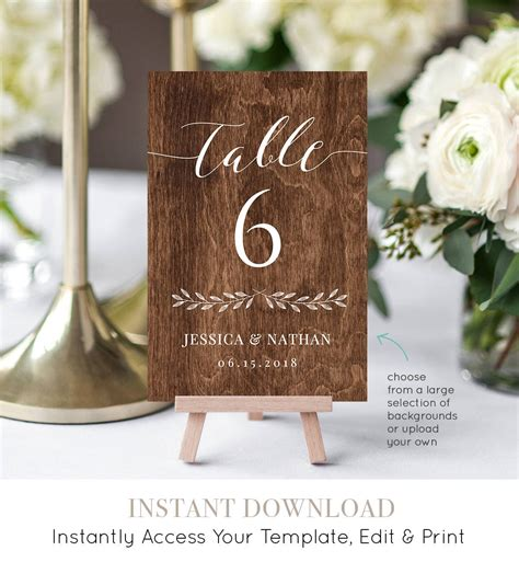 DIY Table Number Templates For Wedding