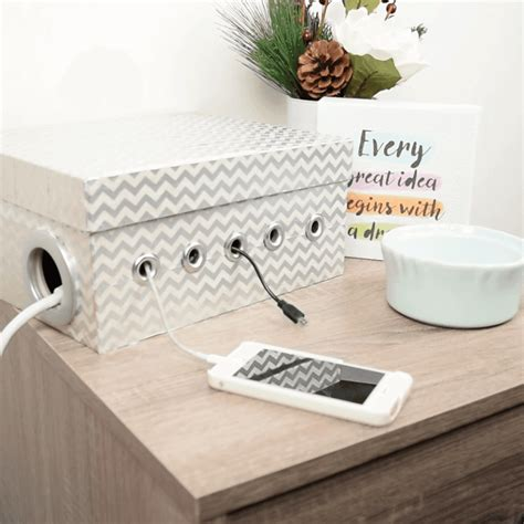 DIY Upcycled Shoe Box Charging Station