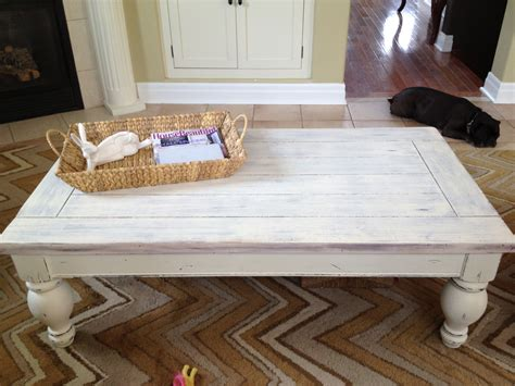 DIY Whitewashed Coffee Table