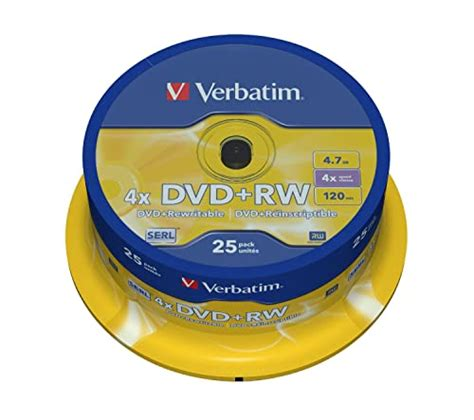 DVD+RW Rewritable Discs - 4.7GB, 4x, with Jewel Cases, Silver, 10/Pack(sold in packs of 3)