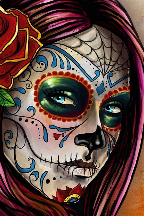 Day The Dead Skull Girl Drawing Designs