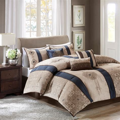 Deals Navy And Tan Bedding