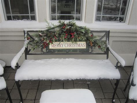Decorating wooden bench for christmas Image
