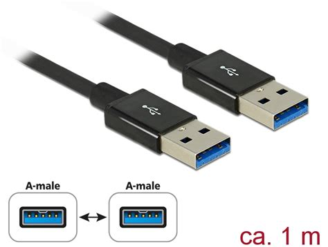 Delock Cable SuperSpeed USB 10 Gbps (USB 3.1 Gen 2) USB Type-A male > USB Type-A male 0.5 m coaxial black Premium