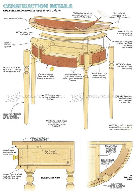 Demilune Table Woodworking Plans