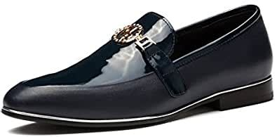Designer Men's Smooth Leather Slip On Metal Bit Detail Low Heel Loafer Shoes