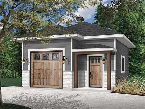 Detached Modern Single Car Garage Plans