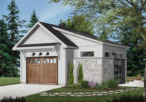 Detached Single Car Garage Plans With Lean To