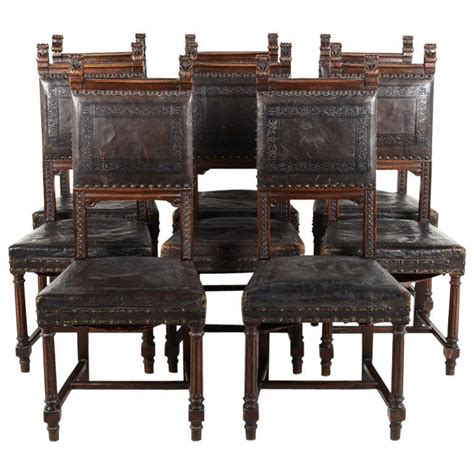 Dining Chair Tooled Leather Seat