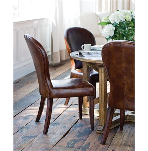 Dining Chair With Leather Seat And Upholstered Back