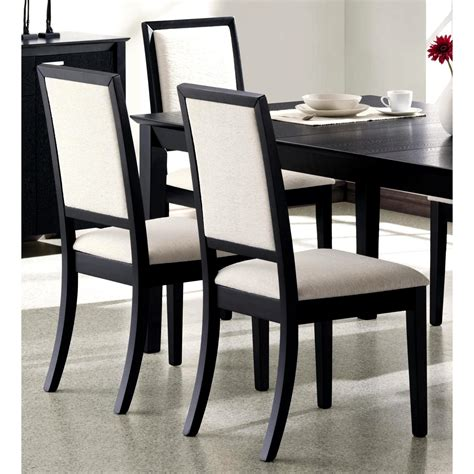 Dining Room Chairs Black Wood Finish Upholstered