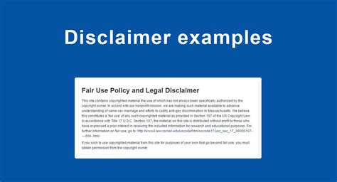 Disclaimer Examples