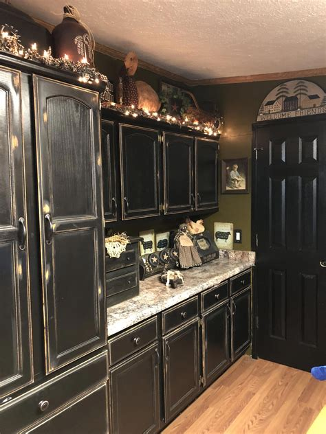 Distressed Black Cabinets DIY