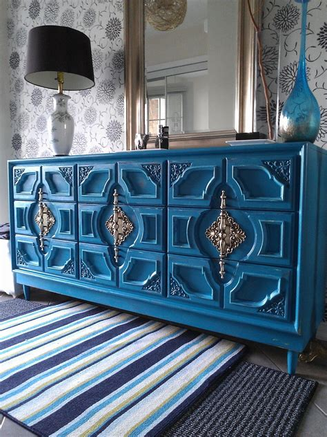 Distressed Turquoise Dresser Diy