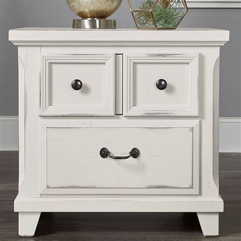 Distressed White Bedside Tables