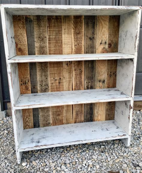 Distressed Wood Bookcase Diy Wall