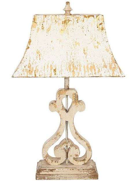 Distressed Wood Table Lamp With Metal Shade