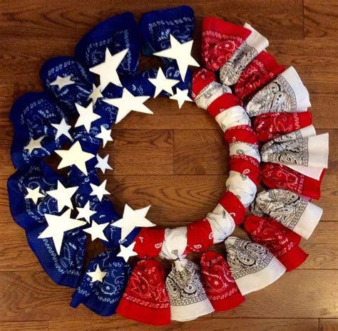 Diy American Flag Bandana Wreath