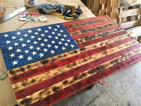 Diy American Flag Wooden Sign