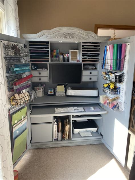 Diy Armoire Into Craft Cabinet