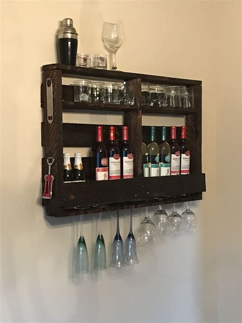 Diy Bar Shelves With Wine Glass Holders