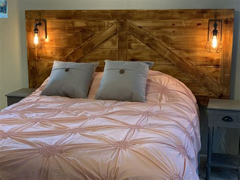 Diy Barn Door Headboard With Lights