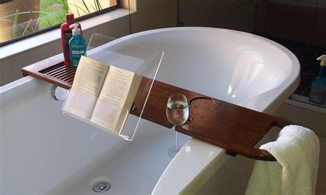 Diy Bath Caddy With Wine And Book Holder