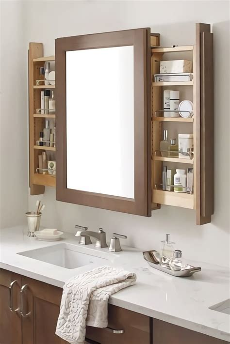 Diy Bathroom Cabinet Between Mirrors
