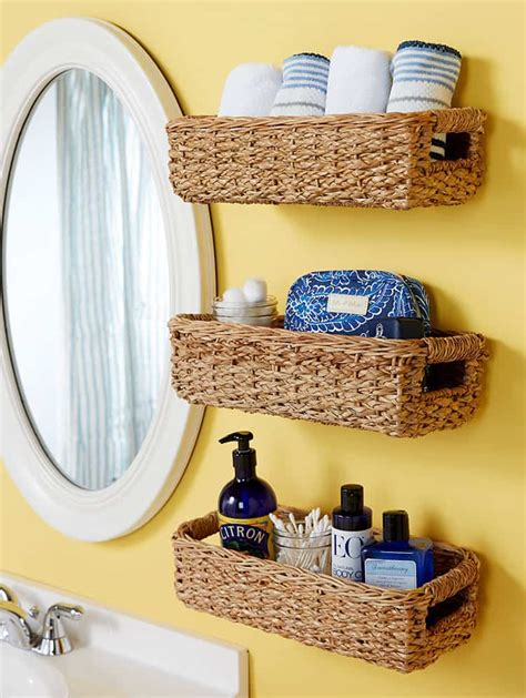 Diy Bathroom Wall Shelves Baskets