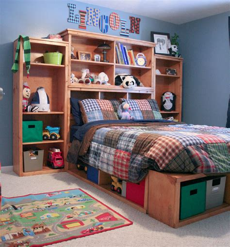 Diy Bed With Shelf Headboard Boys