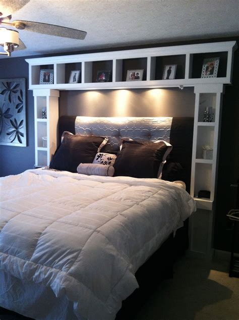 Diy Bed With Shelf Headboard Images