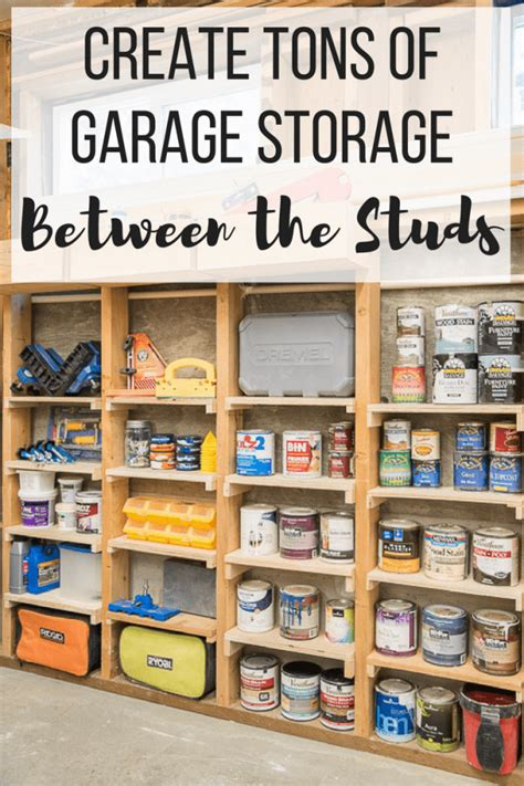 Diy Between Stud Shelves For Garage