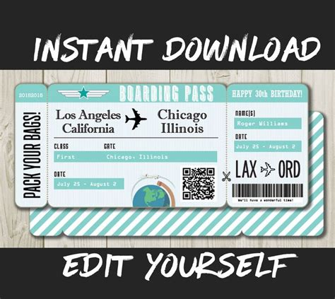 Diy Boarding Pass Template
