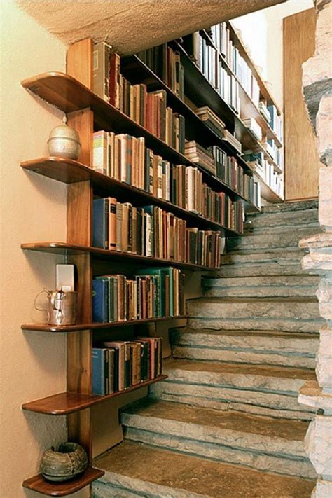 Diy Book Shelves Under Stairs