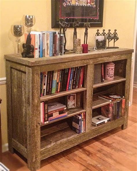 Diy Bookcase Wall Unit With Pallets
