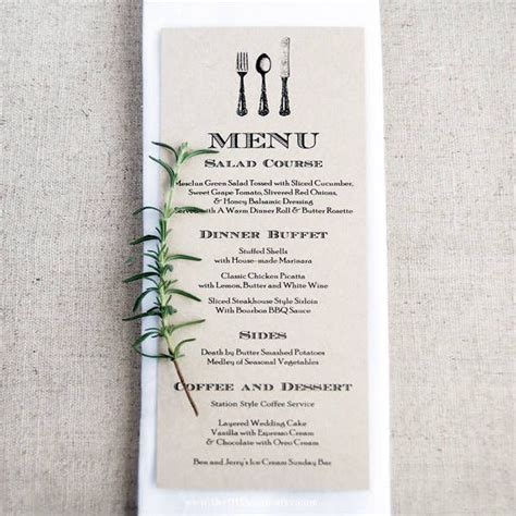 Diy Buffet Menu Template