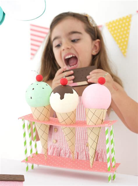 Diy Cardboard Ice Cream Stand Cartoon