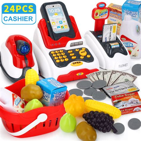 Diy Cash Register Food Shopping Market Toys Learn