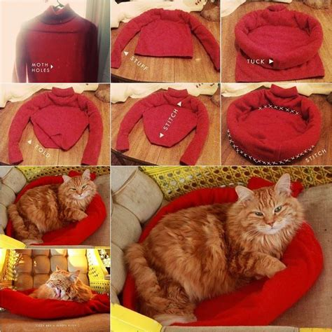 Diy Cat Bed From Sweater