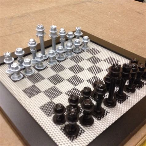 Diy Chess Set Made From Bolts Nuts