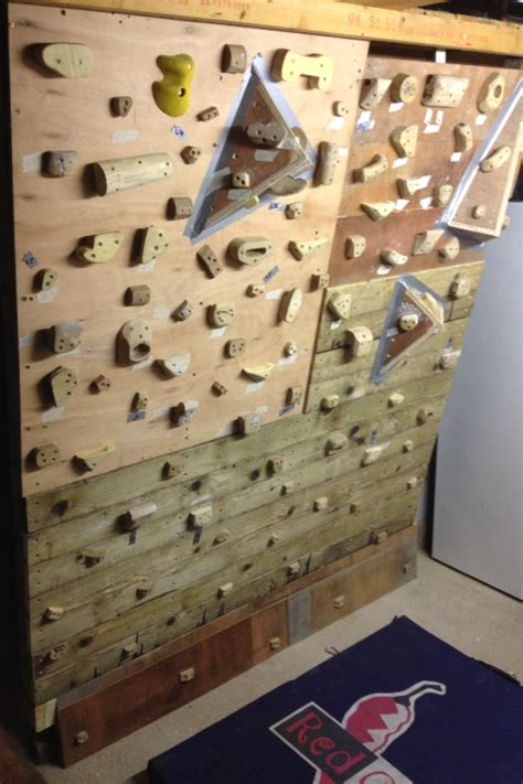 Diy Climbing Wall With Wooden Holds