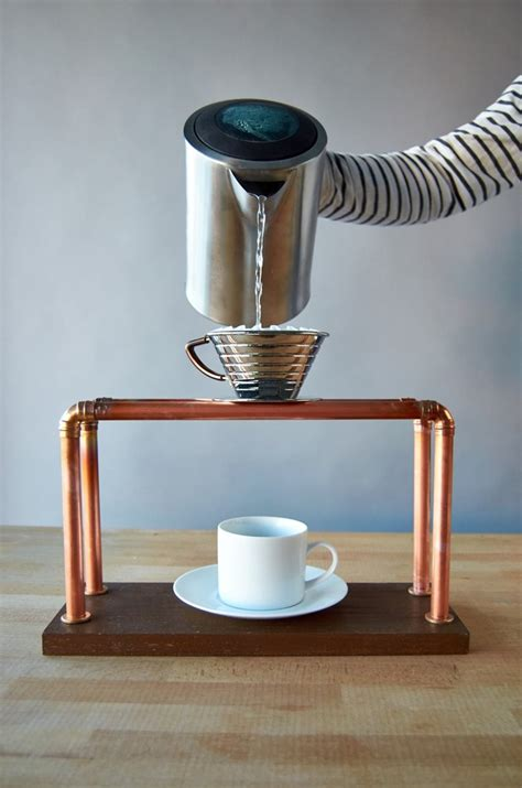 Diy Copper Pour Over Coffee Stand With Wood