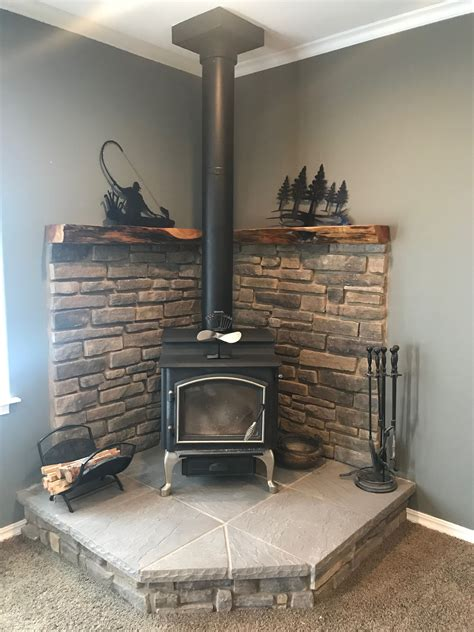 Diy Corner Wood Stove Mantel Updated
