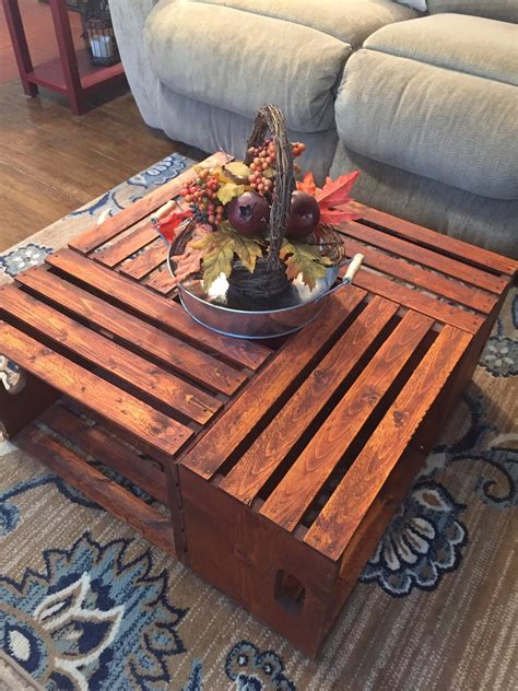 Diy Crate Coffee Table Finished Dimensions
