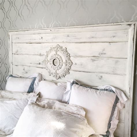 Diy Distressed White Wood Headboard