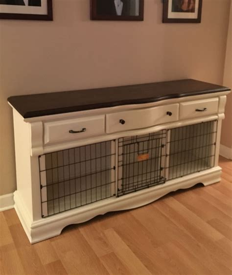 Diy Dog Cage Made Out Of End Tables